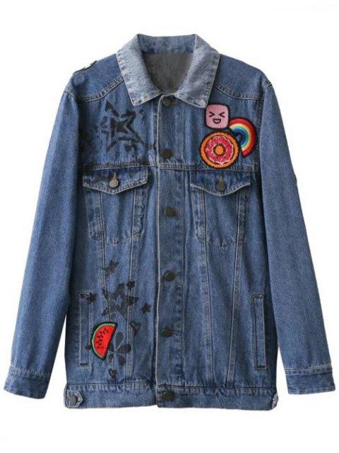 women Cartoon Letter Patch Denim Jacket - DENIM BLUE S Mobile