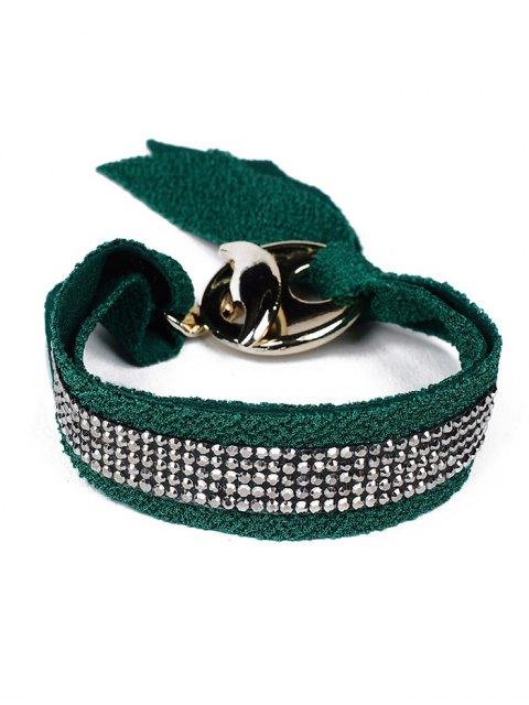 fashion Bowknot Rhinestone Lint Bracelet - GREEN  Mobile