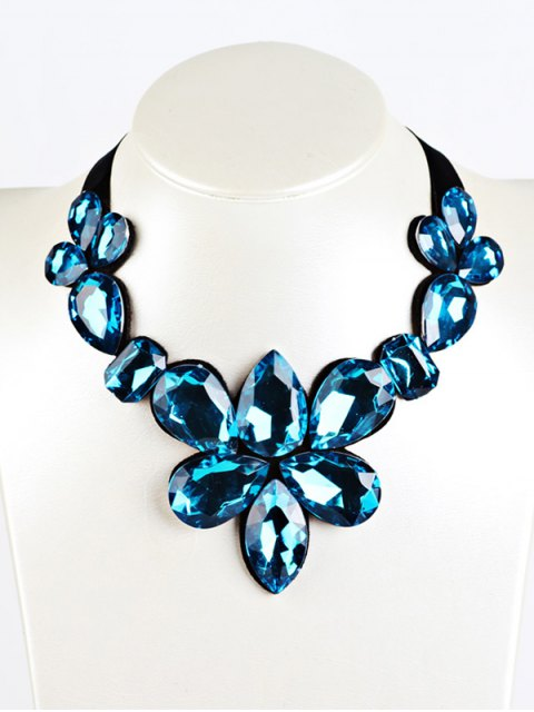 chic Water Drop Faux Crystal Ribbon Necklace -   Mobile
