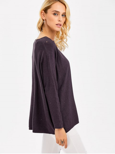 shops Hollow Out Loose Fitting Knitwear - STORMY ONE SIZE Mobile