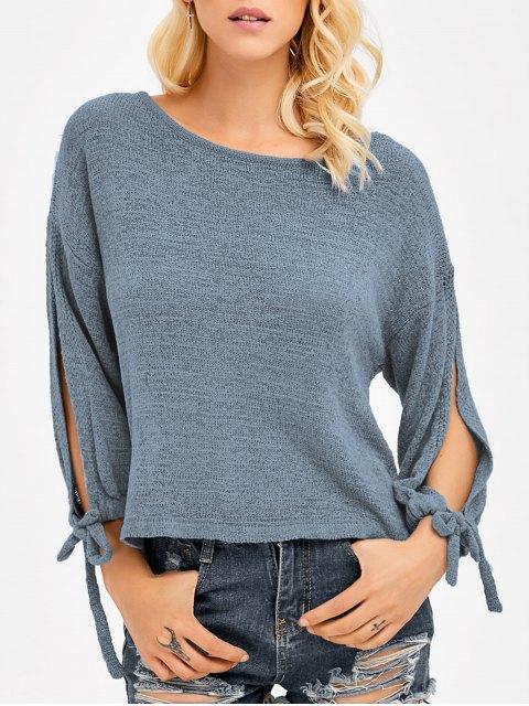 latest Slit Drop Shoulder Crop Knitwear - BLUE GRAY ONE SIZE Mobile