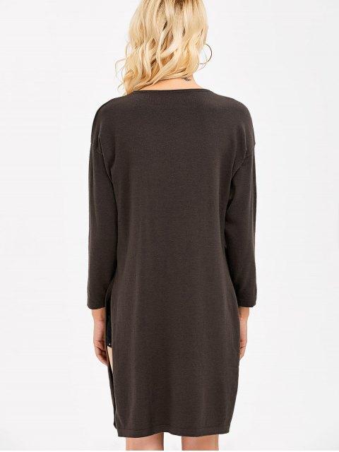 trendy Longline Side Slit  Knitwear - ESPRESSO ONE SIZE(FIT SIZE XS TO M) Mobile