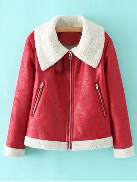 buy PU Leather Zipper Pocket Faux Shearling Coat - RED L Mobile