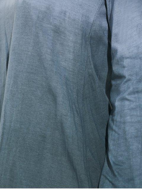 buy Ombre V Neck Asymmetrical Tee - GRAY S Mobile