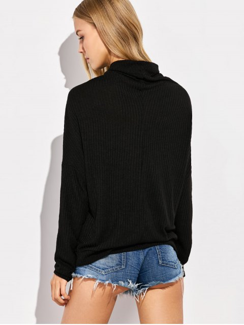 women High Neck Batwing Sleeve Jumper - BLACK XL Mobile