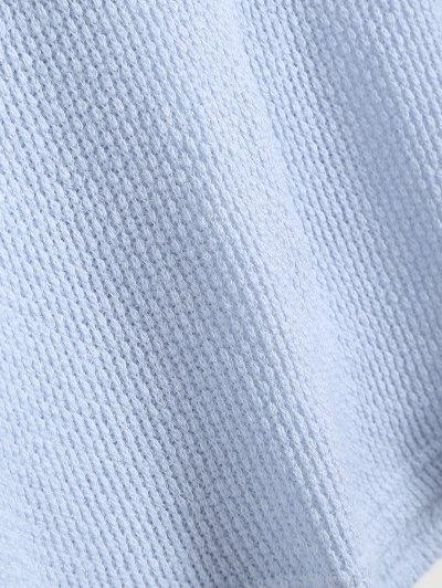 Long Sleeve V Neck Jumper - LIGHT BLUE XL Mobile