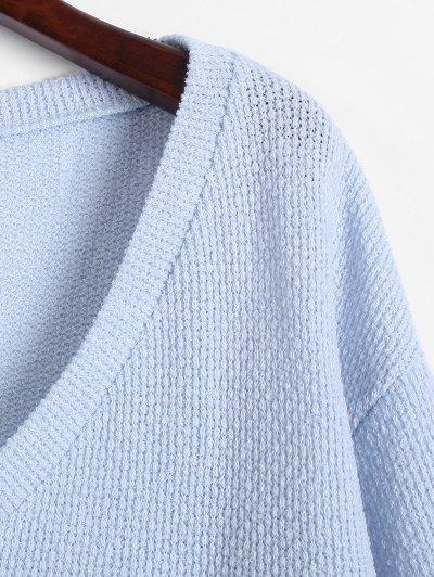 Long Sleeve V Neck Jumper - LIGHT BLUE L Mobile