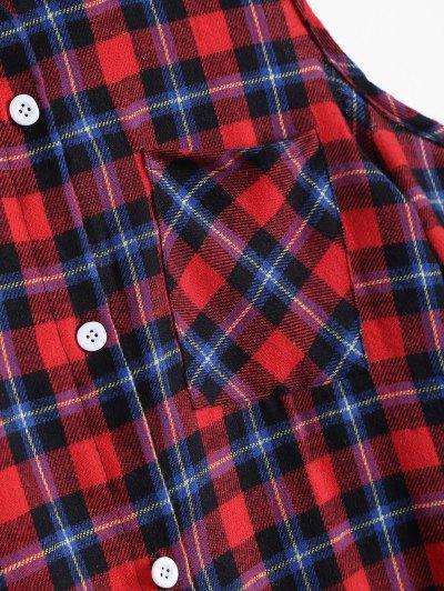 Plaid Cut Out Shoulder Shirt - MULTICOLOR S Mobile
