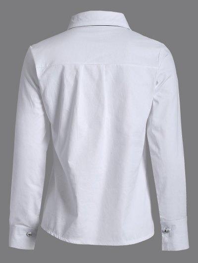 Bowknot Long Sleeve Shirt - WHITE L Mobile
