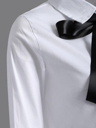 Bowknot Long Sleeve Shirt - WHITE M Mobile
