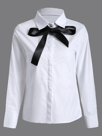 Bowknot Long Sleeve Shirt - WHITE S Mobile