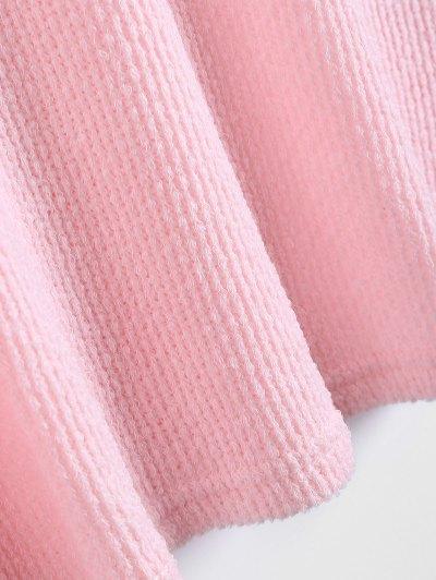 Long Sleeve V Neck Jumper - PINK L Mobile