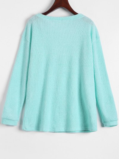 Long Sleeve V Neck Jumper - LIGHT GREEN XL Mobile