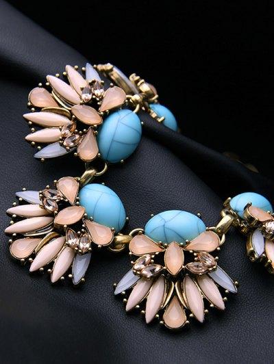 Floral Faux Sapphire Necklace - GOLDEN  Mobile
