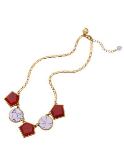 Geometry Faux Gem Necklace - GOLDEN  Mobile