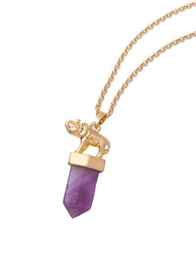 Faux Amethyst Bullet Elephant Necklace - GOLDEN  Mobile