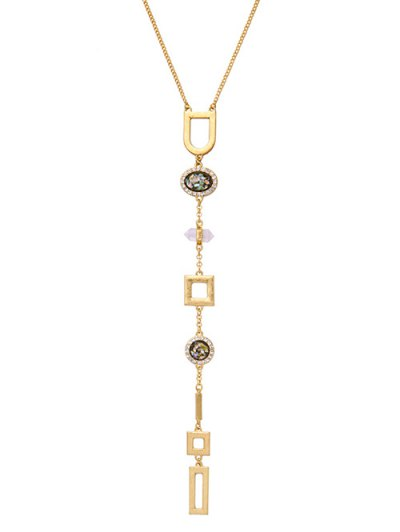 Faux Gem Geometry Pendant Necklace - GOLDEN  Mobile