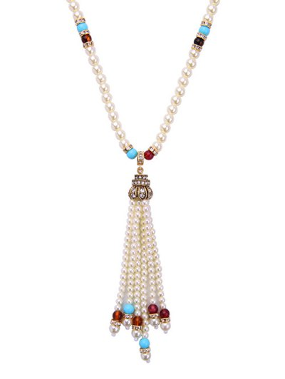 Faux Pearl Tassel Crystal Necklace - WHITE  Mobile