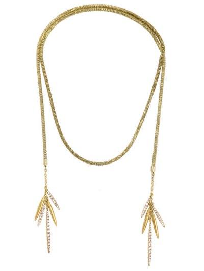 Rhinestone Leaf Tassel Snake Chain Necklace - GOLDEN  Mobile