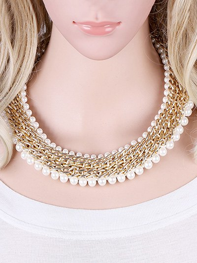 Alloy Fake Pearl Embellished Necklace - GOLDEN  Mobile