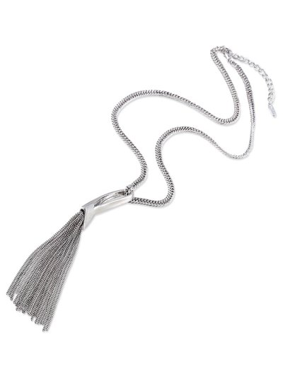 Alloy Chain Tassel Pendant Necklace - SILVER  Mobile