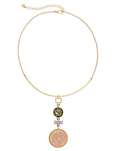 Fake Gem Round Pendant Necklace - GOLDEN  Mobile