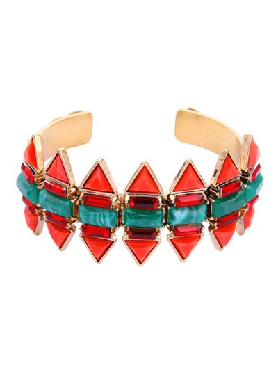 Fake Emerald Arrow Shape Cuff Bracelet - RED  Mobile