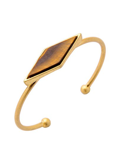 Rhombus Fake Gem Alloy Cuff Bracelet - GOLDEN  Mobile