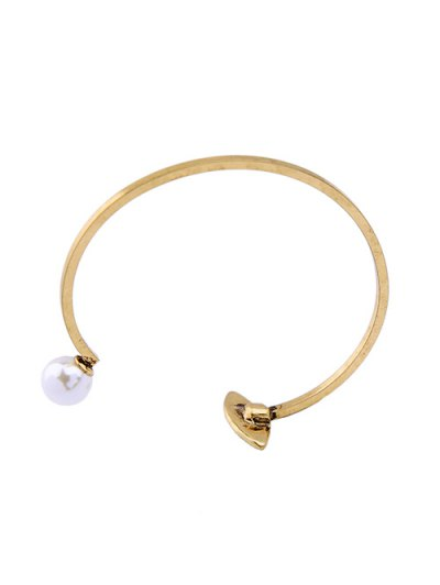 Rhinestone Embellished Faux Pearl Cuff Bracelet - GOLDEN  Mobile
