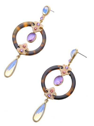 Leopard Water Drop Faux Crystal Earrings - LEOPARD  Mobile