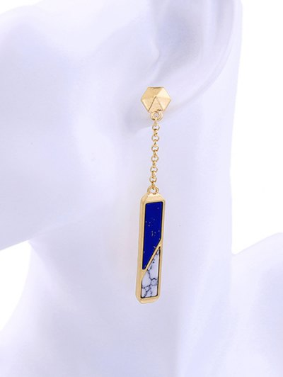Two Tone Faux Gem Drop Earrings - BLUE AND WHITE  Mobile