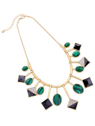 Geometry Fake Gemstone Pendant Necklace - GOLDEN  Mobile
