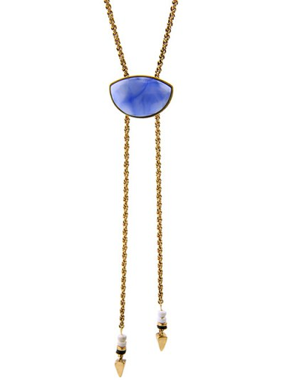 Geometry Fake Gem Cone Tassel Necklace - GOLDEN  Mobile