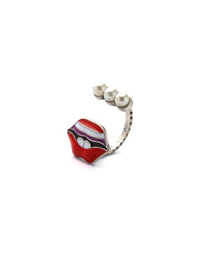 Lip Fake Pearl Cuff Ring - RED  Mobile