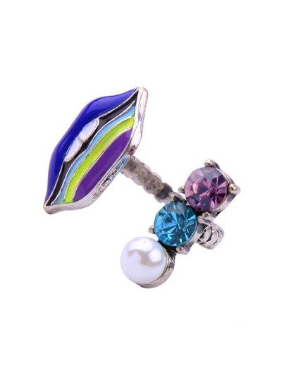 Lip Fake Pearl Cuff Ring - BLUE  Mobile