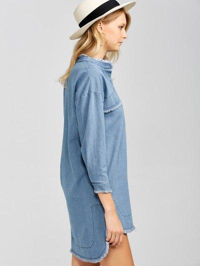 High-Low Denim Dress - LIGHT BLUE L Mobile