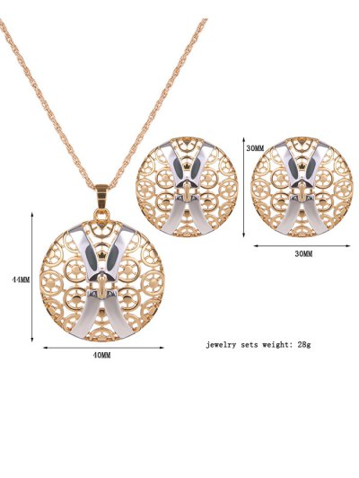 Hollow Out X Shape Round Jewelry Set - GOLDEN  Mobile
