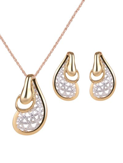 Hollow Out Water Drop Jewelry Set - GOLDEN  Mobile