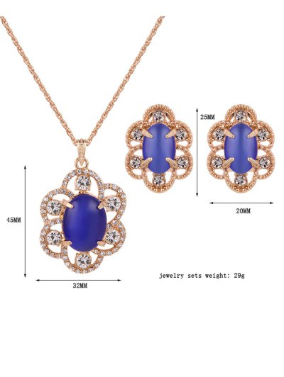 Rhinestone Floral Faux Opal Jewelry Set - BLUE  Mobile