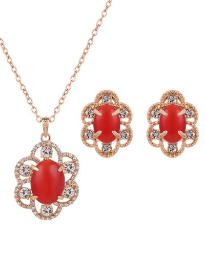 Rhinestone Floral Faux Opal Jewelry Set - RED  Mobile