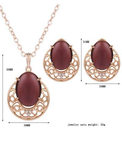 Rhinestone Faux Opal Jewelry Set - DARK RED  Mobile