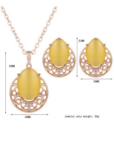 Rhinestone Faux Opal Jewelry Set - YELLOW  Mobile