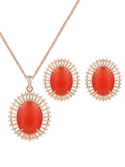 Oval Fake Opal Jewelry Set - RED  Mobile
