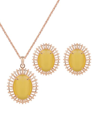 Oval Fake Opal Jewelry Set - YELLOW  Mobile
