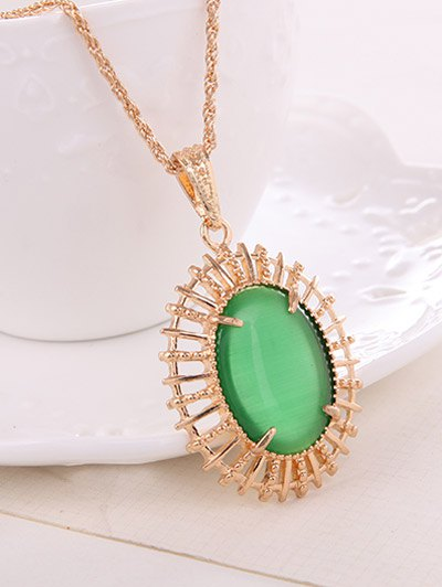 Oval Fake Opal Jewelry Set - GREEN  Mobile