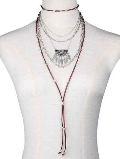 Chain Feather Faux Leather Multilayer Necklace - SILVER  Mobile