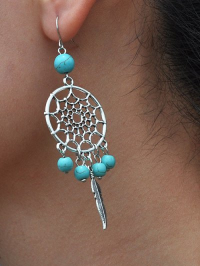 Hollow Out Faux Turquoise Feather Earrings - TURQUOISE  Mobile