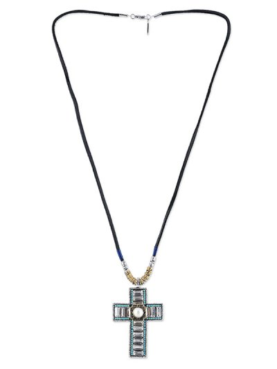 Faux Leather Rope Rhinestone Cross Necklace - BLACK  Mobile