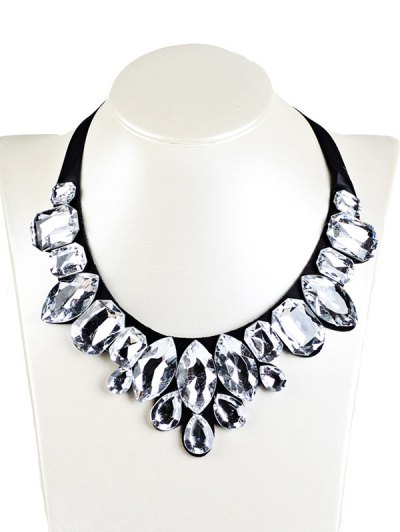 Geometry Faux Crystal Necklace - WHITE  Mobile