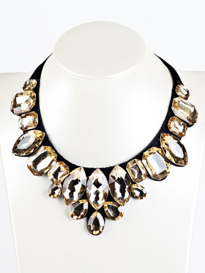Geometry Faux Crystal Necklace - YELLOW  Mobile